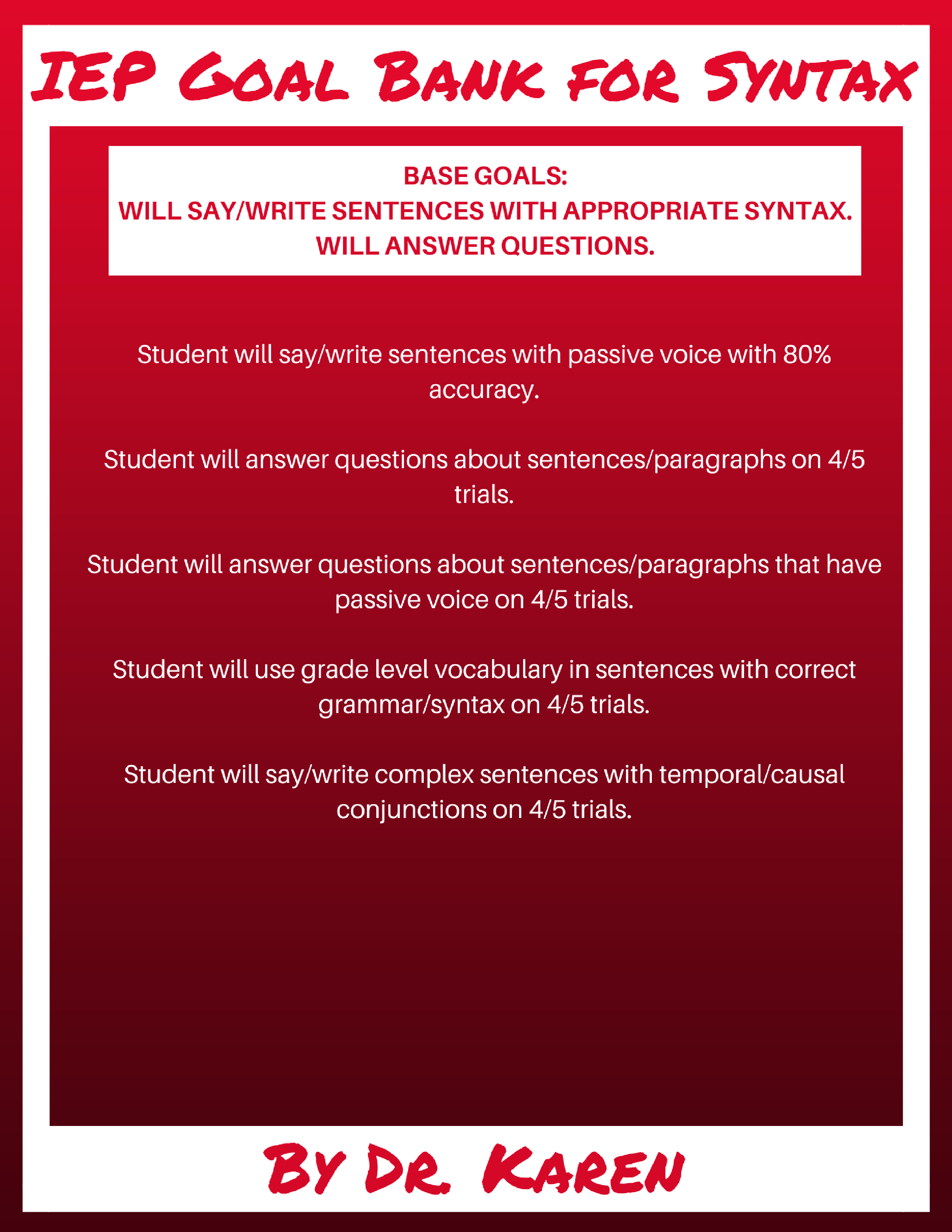Syntax Goals for Speech Therapy Part 3: Adverbial Clauses